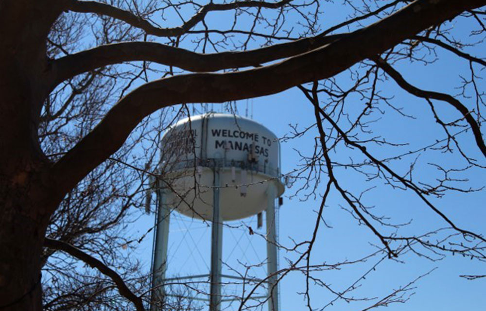 view of the water tower in Manassas, Virginia